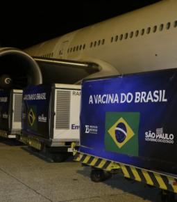 Insumos para produção de doses da CoronaVac chegam ao Brasil